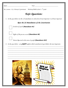 Exit Card - Amendments of the Constitution