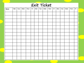 Exit Ticket Recording Sheet Freebie