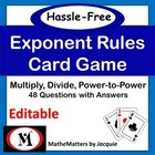 Exponent Rules Math Game, Worksheet and Activity