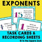 Exponent Task Cards and Recording Sheets Common Core Stand