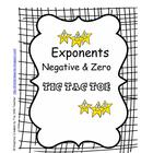 Exponents Negative and Zero Tic Tac Toe Activity