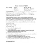 Expository Writing: Cause &amp; Effect Essay Unit with Rubric