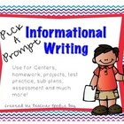 Expository Writing Pick a Prompt (common core aligned)