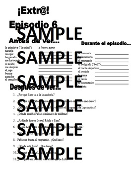 Extra! Extr@! episodio 6 Worksheet Spanish