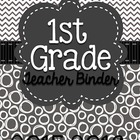 FIRST GRADE Common Core Teacher Binder (Gray Polka Dots)
