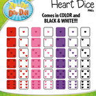 Valentine's Day Heart Dice Clip Art Set — Over 40 Graphics!
