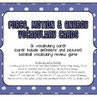 FORCE MOTION ENERGY Vocabulary Cards &amp; Baseball Review Game