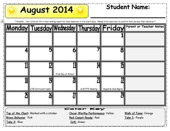 2014-2015 Editable Behavior Calendar