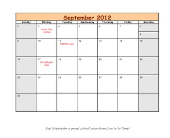 FREE 2012-2013 School Year Organizational Calendar MS Word Format