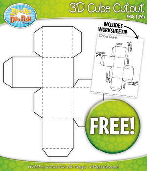 FREE 3D Blank Cube Block Cutout — Includes Worksheet!