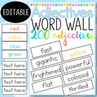 FREE - Adjectives Word Wall - 200 words - 40 pages