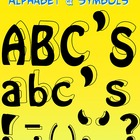 FREE - Alphabet and Punctuation Symbols Black/Blackline Clipart