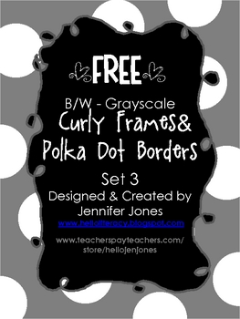 FREE Big Dot Border Curly Frames B/W Grayscale