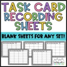 FREE Blank Task Card Recording Sheets