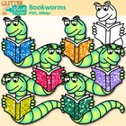 FREE Bookworm Clip Art Dipped in Glitter - Back to School