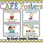 FREE CAFE Posters with polka dot background