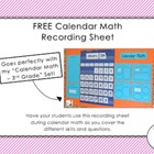 FREE Calendar Math Recording Sheet