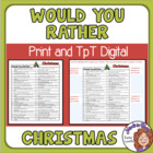 FREE Christmas Would You Rather Questions