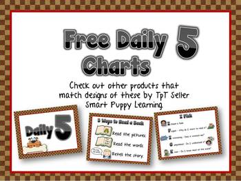 FREE Daily 5 Posters - Puppy Love