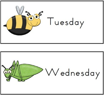 FREE Days of the Week Mini-Beasts Theme - 4 pages
