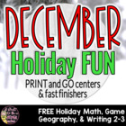 December Holiday Fun Activities Freebie