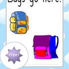 FREE Download!  Bags Go Here Signs - 2pages - Classroom Resource