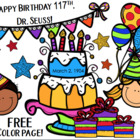 FREE Dr. Seuss Birthday Color Page for 2014