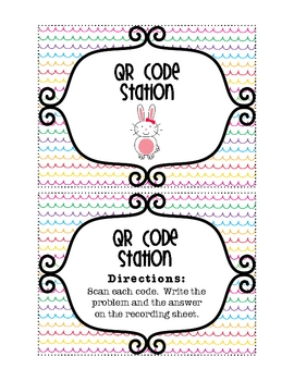 FREE!! Easter QR Code Math Station--Two-digit addition & s