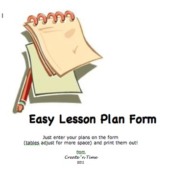 FREE Easy Lesson Plan Form