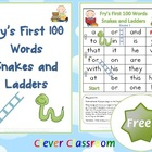 FREE Fry&#039;s First 100 Words Snakes and Ladders Games x 6 - 6 pages