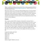 FREE Fun Daily Spelling Activities