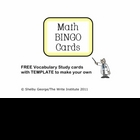 FREE Game Cards for Math BINGO includes TEMPLATE for 3 x 5