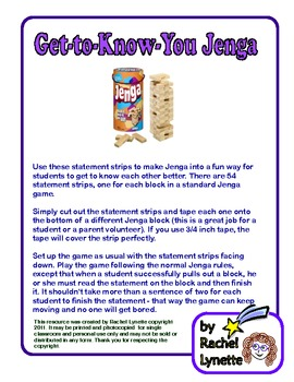 FREE Get-to-Know-You Jenga -
