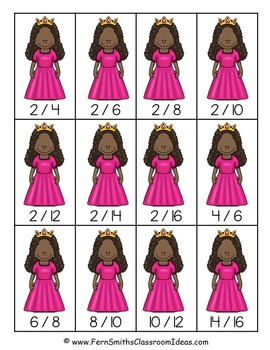 "FREE ""Go Princess!"" Equivalent Fractions Go Fish Card Game"