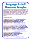 FREE Grammar & Language Arts Sampler - 16 Printable Pages!