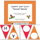 "FREE ""HAPPY 100th DAY!"" Chevron Pennant Banner - Fiesta Theme"