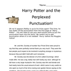 FREE-HARRY POTTER Punctuation handout activity-PLEASE RATE! :)