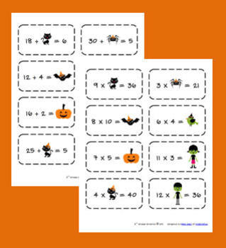 FREE Halloween Multiplication/Division Flashcards