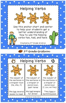 FREE Helping Verbs - Anchor Chart and Center