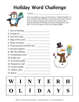 FREE Holiday Word Challenge