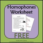 Homophones Identifying Worksheet with answer key (FREE)