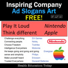 FREE! Inspiring Company Ad Slogans to use for Creative Cla