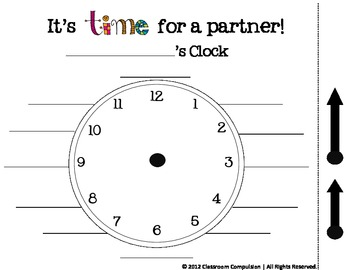 FREE It's Time for a Partner (clock work, classroom management)