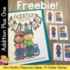 FREE! January Snow Theme Addition Plus One Center Game