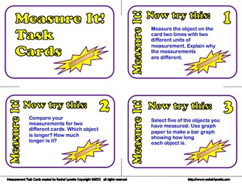 FREE Measure It! Task Cards for Grades 2-3