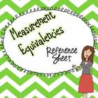 FREE Measurement Equivalencies Reference Sheet