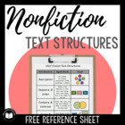 {FREE} Non-Fiction Text Structures -- Student Reference Sheet