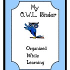 FREE Owl Binder Cover in Blue