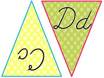 {FREE} Polka Dot ABC Flags in Cursive
