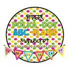 {FREE} Polka Dot ABC Flags in Manuscript